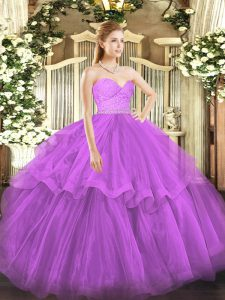 Exquisite Fuchsia Tulle Zipper Quinceanera Gowns Sleeveless Brush Train Beading and Lace and Ruffled Layers