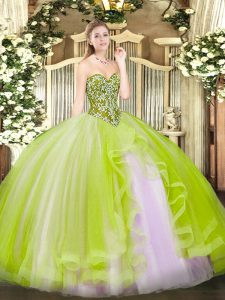 Pretty Yellow Green Ball Gowns Sweetheart Sleeveless Tulle Floor Length Lace Up Beading and Ruffles Quinceanera Gowns