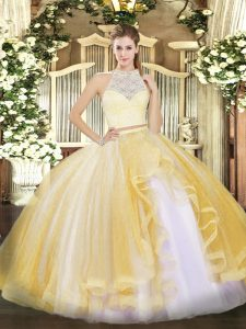 Scoop Sleeveless Tulle Ball Gown Prom Dress Lace and Ruffles Zipper