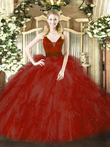 Wine Red Tulle Zipper Ball Gown Prom Dress Sleeveless Floor Length Beading and Ruffles