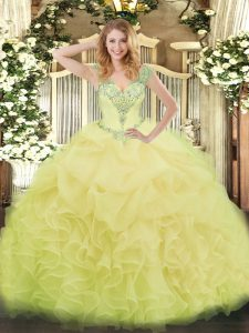 Custom Design Sleeveless Lace Up Floor Length Beading and Ruffles and Pick Ups 15th Birthday Dress