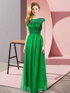 Scoop Sleeveless Tulle Prom Dress Lace Zipper