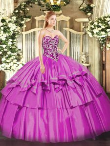 Sleeveless Organza and Taffeta Floor Length Lace Up Quinceanera Dress in Lilac with Beading and Ruffled Layers