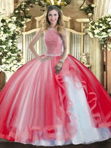 Ball Gowns Sweet 16 Dresses Red High-neck Tulle Sleeveless Floor Length Lace Up