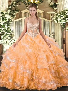 Fantastic Floor Length Lace Up Sweet 16 Dresses Orange for Military Ball and Sweet 16 and Quinceanera with Beading and Ruffled Layers