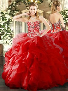 Red Sleeveless Organza Lace Up 15 Quinceanera Dress for Military Ball and Sweet 16 and Quinceanera