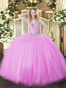 Sleeveless Floor Length Beading Lace Up Quince Ball Gowns with Lilac