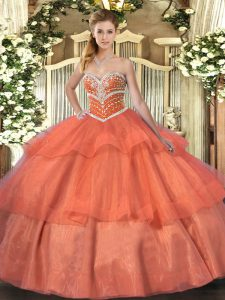 Superior Orange Red Tulle Lace Up Sweetheart Sleeveless Floor Length 15 Quinceanera Dress Beading and Ruffled Layers