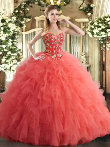 Watermelon Red Sleeveless Tulle Lace Up 15 Quinceanera Dress for Military Ball and Sweet 16 and Quinceanera