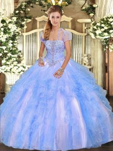Strapless Sleeveless 15th Birthday Dress Floor Length Appliques and Ruffles Baby Blue Tulle