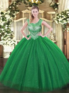 Dark Green Ball Gowns Scoop Sleeveless Tulle Floor Length Lace Up Beading and Sequins Quinceanera Gowns