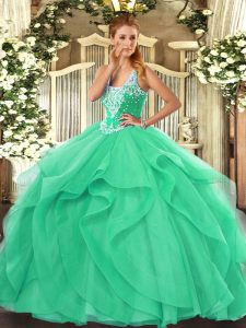 Super Sleeveless Lace Up Floor Length Beading and Ruffles Sweet 16 Dress