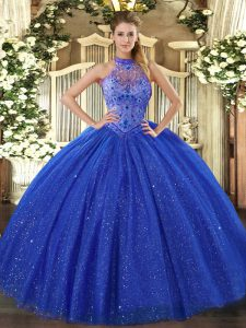 Fabulous Halter Top Sleeveless Lace Up Vestidos de Quinceanera Royal Blue Tulle and Sequined