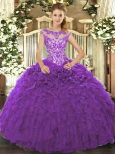 Cap Sleeves Floor Length Beading and Ruffles and Hand Made Flower Lace Up 15th Birthday Dress with Purple