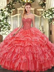 Amazing Coral Red Sleeveless Organza Lace Up Quinceanera Dress for Military Ball and Sweet 16 and Quinceanera