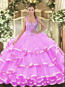 Fabulous Straps Sleeveless Lace Up Quinceanera Dress Lilac Organza