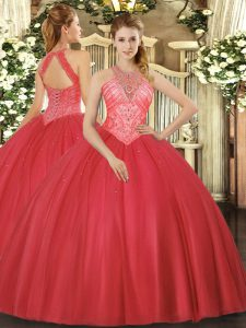 Dazzling Red High-neck Neckline Beading 15th Birthday Dress Sleeveless Lace Up