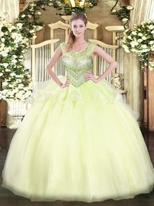 Scoop Sleeveless Lace Up Quinceanera Gown Light Yellow Organza