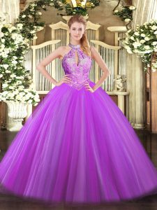 Halter Top Sleeveless Lace Up Ball Gown Prom Dress Purple Tulle