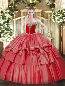Traditional Floor Length Ball Gowns Sleeveless Coral Red Party Dress Lace Up