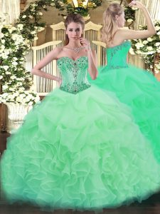 Admirable Apple Green Sweetheart Neckline Beading and Ruffles and Pick Ups Quinceanera Gowns Sleeveless Lace Up