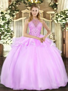 Admirable Lilac Ball Gowns Organza Halter Top Sleeveless Beading Floor Length Lace Up Quince Ball Gowns