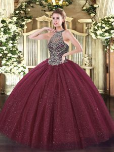 Stunning Ball Gowns Quinceanera Dress Burgundy Sweetheart Tulle Sleeveless Floor Length Lace Up