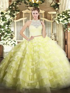 Latest Floor Length Yellow Sweet 16 Dress Scoop Sleeveless Zipper