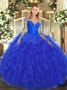Deluxe Scoop Long Sleeves Tulle Ball Gown Prom Dress Lace and Ruffles Lace Up