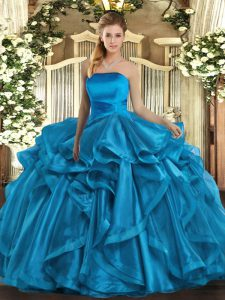 Hot Sale Sleeveless Organza Floor Length Lace Up Sweet 16 Quinceanera Dress in Baby Blue with Ruffles