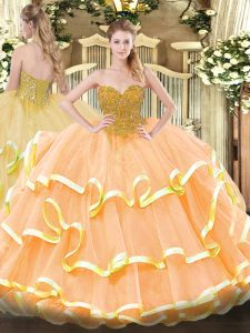 High End Peach Lace Up 15 Quinceanera Dress Beading and Ruffled Layers Sleeveless Floor Length