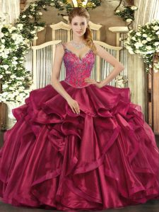 Sweet Floor Length Ball Gowns Sleeveless Wine Red Vestidos de Quinceanera Lace Up