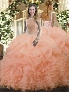 Sumptuous Peach Vestidos de Quinceanera Military Ball and Sweet 16 and Quinceanera with Beading and Ruffles and Pick Ups High-neck Sleeveless Lace Up