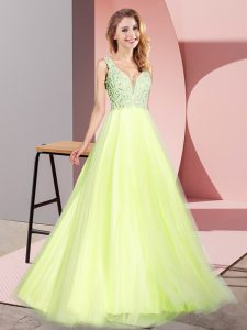 On Sale Light Yellow Sleeveless Lace Floor Length Prom Party Dress