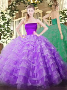 Lilac Sleeveless Tulle Zipper 15 Quinceanera Dress for Military Ball and Sweet 16 and Quinceanera