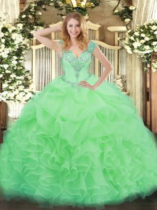 Low Price Apple Green Organza Lace Up Quinceanera Gown Sleeveless Floor Length Ruffles