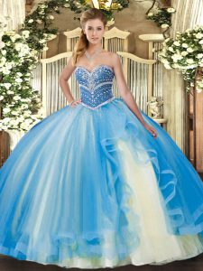 Baby Blue Lace Up Sweetheart Beading and Ruffles 15 Quinceanera Dress Tulle Sleeveless