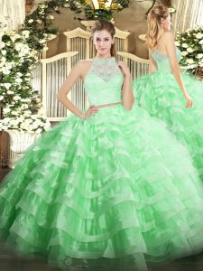Apple Green Tulle Zipper Scoop Sleeveless Floor Length Quinceanera Gown Lace and Ruffled Layers