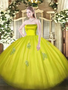 Exceptional Ball Gowns Vestidos de Quinceanera Olive Green Strapless Tulle Sleeveless Floor Length Zipper