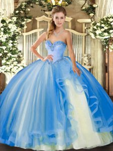 Simple Baby Blue Lace Up 15 Quinceanera Dress Beading and Ruffles Sleeveless Floor Length