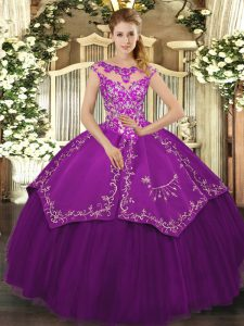 Ball Gowns Quinceanera Dress Eggplant Purple Scoop Satin and Tulle Cap Sleeves Floor Length Lace Up