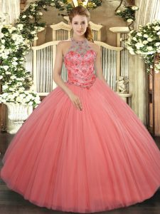 Elegant Watermelon Red Sleeveless Tulle Lace Up Quinceanera Dresses for Military Ball and Sweet 16 and Quinceanera