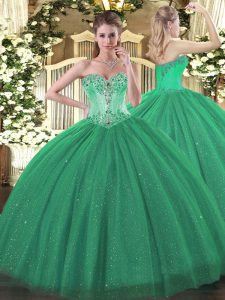Cute Turquoise Sweetheart Lace Up Beading Vestidos de Quinceanera Sleeveless