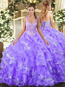 Custom Designed Floor Length Lace Up Vestidos de Quinceanera Lavender for Military Ball and Sweet 16 and Quinceanera with Beading and Ruffled Layers