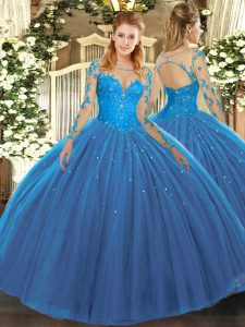 Fantastic Tulle Scoop Long Sleeves Lace Up Lace 15 Quinceanera Dress in Teal
