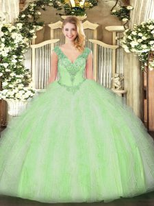 Top Selling Yellow Green Ball Gowns V-neck Sleeveless Organza Floor Length Lace Up Beading and Ruffles 15 Quinceanera Dress