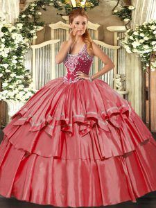 Organza and Taffeta Sleeveless Floor Length Quinceanera Dress and Beading and Ruffled Layers