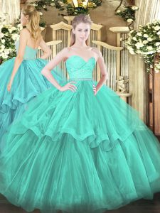 Discount Aqua Blue Tulle Zipper Quince Ball Gowns Sleeveless Brush Train Beading and Lace and Ruffled Layers