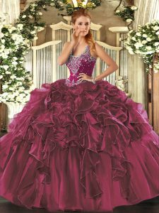 Graceful Floor Length Burgundy Sweet 16 Dresses Organza Sleeveless Beading and Ruffles