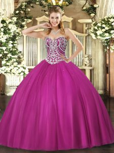 Sweetheart Sleeveless Lace Up Teens Party Dress Fuchsia Tulle